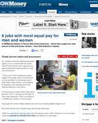 jobs with most equal pay for men: CNNMoney